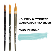 Load image into Gallery viewer, Kolinsky artist paint brush painting brushes set professional art synthetic natural fiber watercolor Roubloff high quality Made in Russia