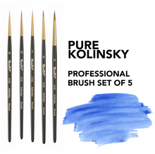 Load image into Gallery viewer, Finest pure kolinsky set of 5 pcs brusehs 100%  Artist watercolor paint brush Made in Russia watercolor oil gouache round Roubloff artist gift