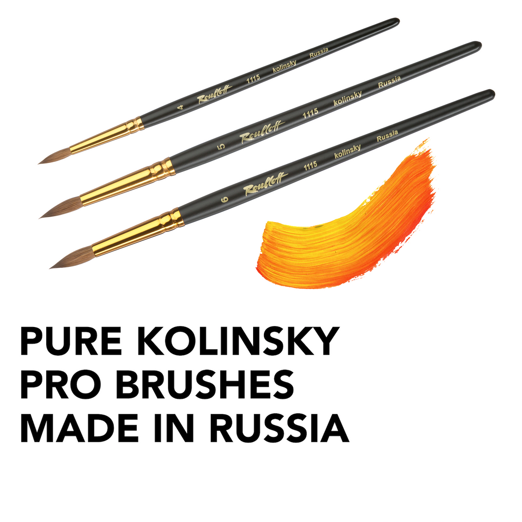 Pure fine kolinsky 100% art painting brush artist gift round professional set brushes watercolor gouache oil paint Roubloff Made in Russia