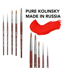 Load image into Gallery viewer, Pure 100 % kolinsky artist professional art brushes made in Russia Siberia round brush artist set Roubloff watercolor gouache oil painting
