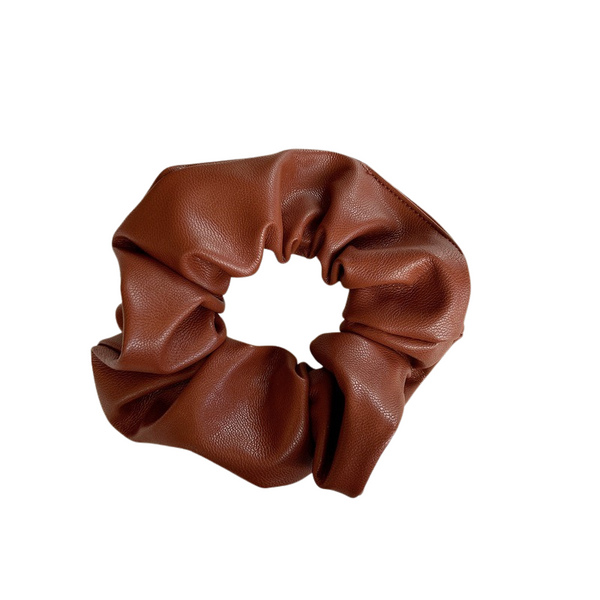 Brown- Faux Leather Scrunchies