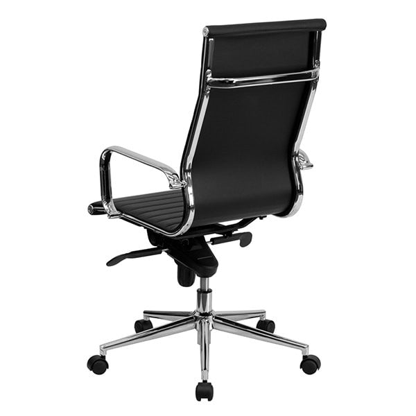 Flash Furniture - High Back Black Ribbed Upholstered Leather Executive Office Chair