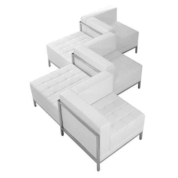 Flash Furniture 5 Piece Hercules Imagination Series Leather Chair & Ottoman Set, White