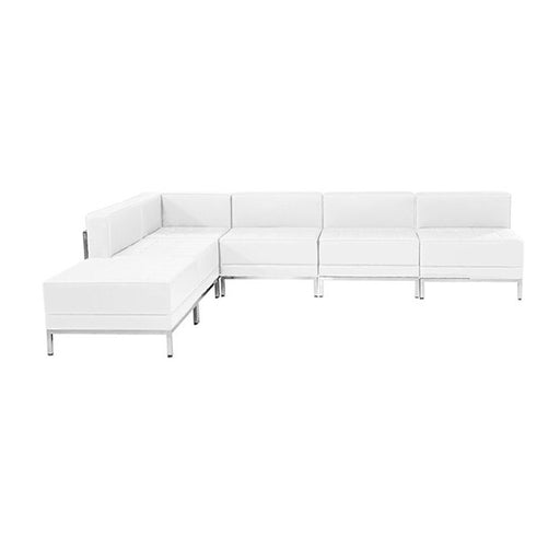 Flash Furniture Hercules Imagination Series, White Leather Sectional Configuration 6 Piece