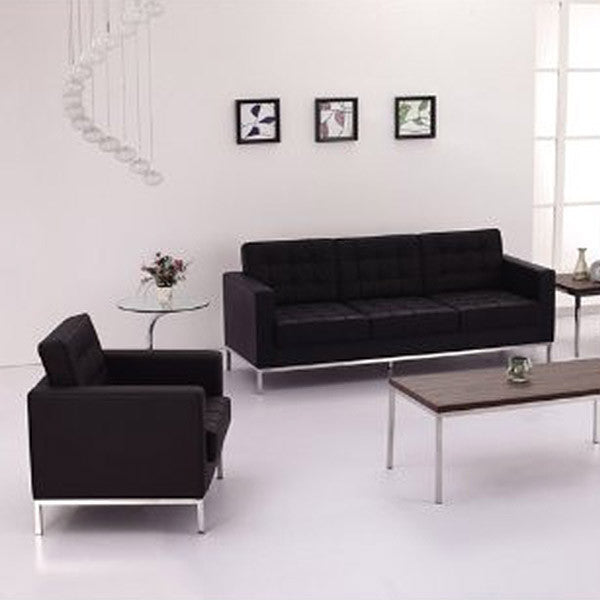 Flash Furniture Hercules Lacey Series Contemporary Black Leather ...