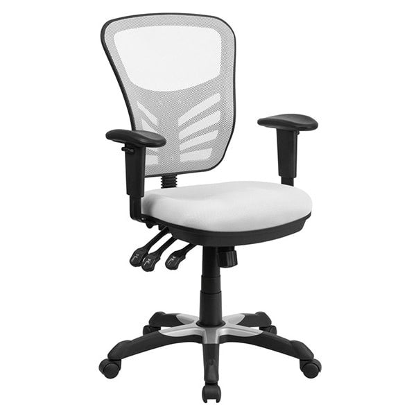 Flash Furniture Mid-Back White Mesh Chair with Triple Paddle Control