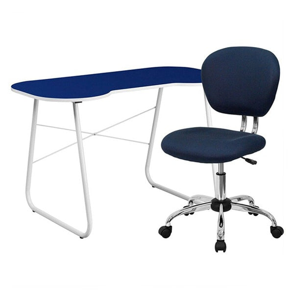 Flash Furniture Navy Computer Desk and Mesh Chair