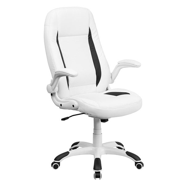 Flash Furniture White Leather Executive Office Chair with Flip Up Arms
