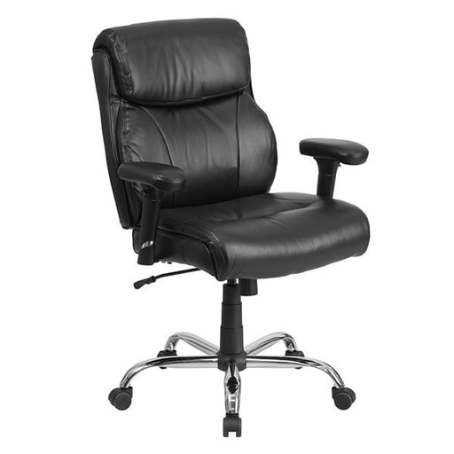 HERCULES Series Big & Tall Black Leather Task Chair with Height Adjustable Arms
