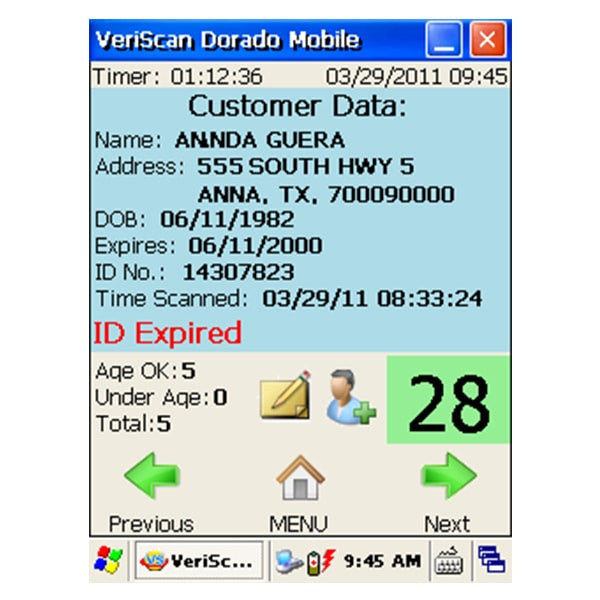 M310 Veriscan Mobile ID Scanner