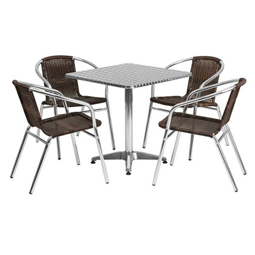 Square Aluminum Indoor-Outdoor Table with 4 Rattan Chairs 27'5""