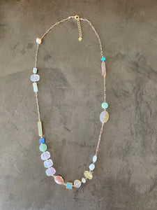"18"" necklace with colored glass beads"
