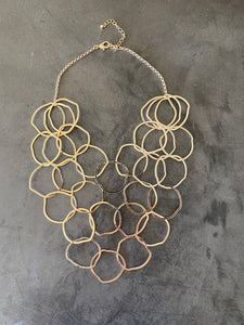 gold plated bunches of circles necklace