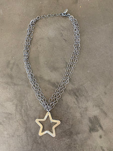 multi-strand necklace with star pendant