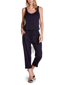 Michael Stars Cotton Jersey Jumpsuit with Drawstring - Navy