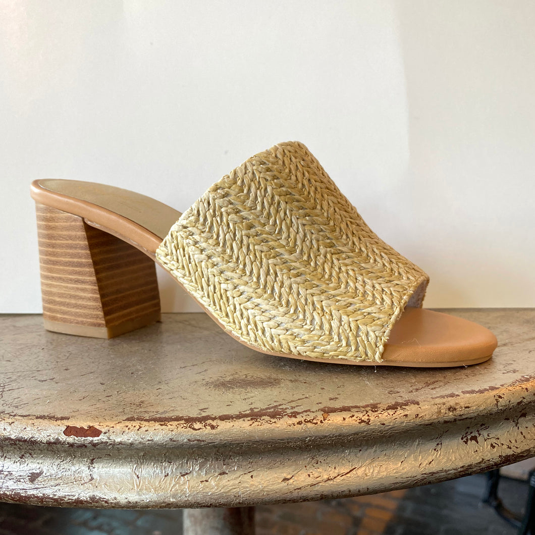 Seychelles Raffia Slide with Box Heel