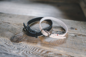 handmade in Canada leather dog collar in black and natural with black and silver buckle hardware