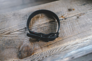 handmade in Canada leather dog collar in black with black buckle hardware