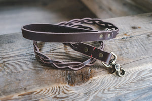 handmade in Canada braided leather dog leash in brown with antique brass hardware