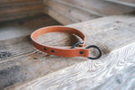 Load image into Gallery viewer, handmade in Canada leather limited slip dog collar in cognac with black hardware