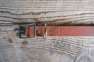 handmade in Canada leather dog collar in cognac with antique brass buckle hardware