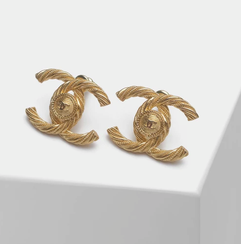 Ch*nel Classic Rope Stud Earrings