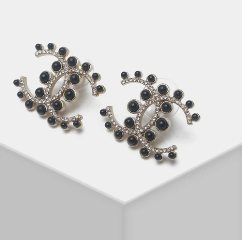 Ch*nel Black Cabachon Stud Earrings
