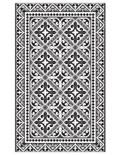 "Load image into Gallery viewer, Beija Flor Black Fleur de Lys Medium Floor Mat (24"" x 38"")"