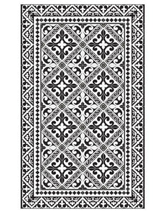 "Beija Flor Black Fleur de Lys Medium Floor Mat (24"" x 38"")"