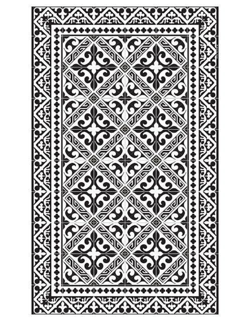 Beija Flor Black Fleur de Lys Medium Floor Mat (24