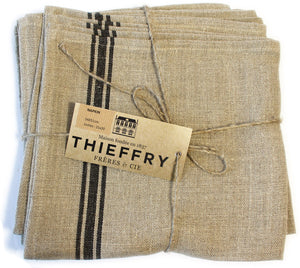 "Thieffry Black Monogramme Linen Napkin (21"" x 20"") - Set of 2"