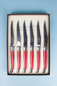 Laguiole Red Steak Knives in Box (Set of 6)