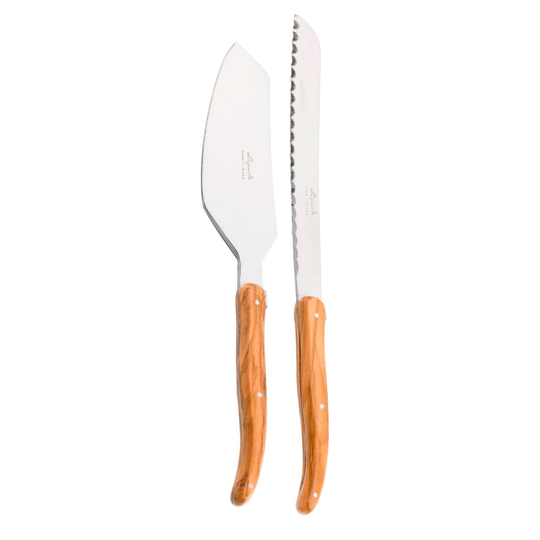 Laguiole French Olivewood Cake Set in Wood Box (Cake Slicer and Bread Knife)