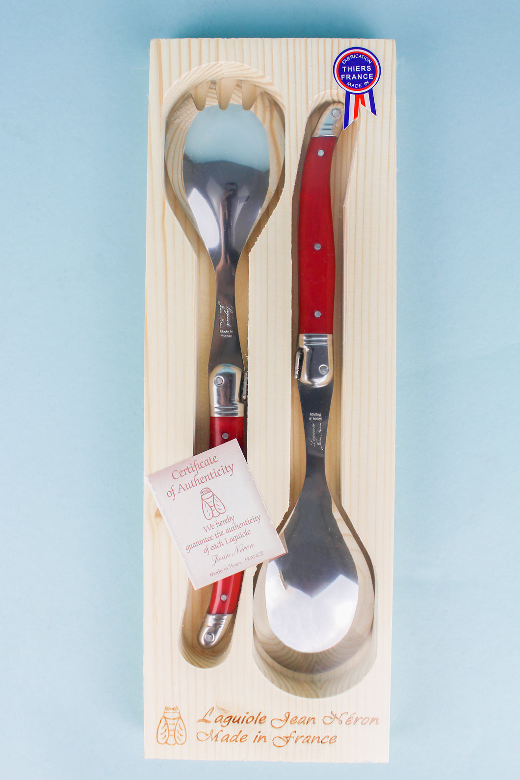 Laguiole Red Salad Serving Set in Wood Box (Set of 2)