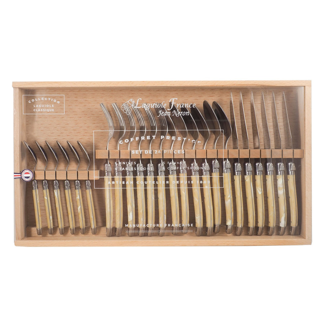 Laguiole 24 Piece Pale Horn Flatware with Wooden Box
