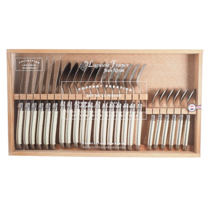 Laguiole 24 Piece Ivory Flatware in Wooden Box