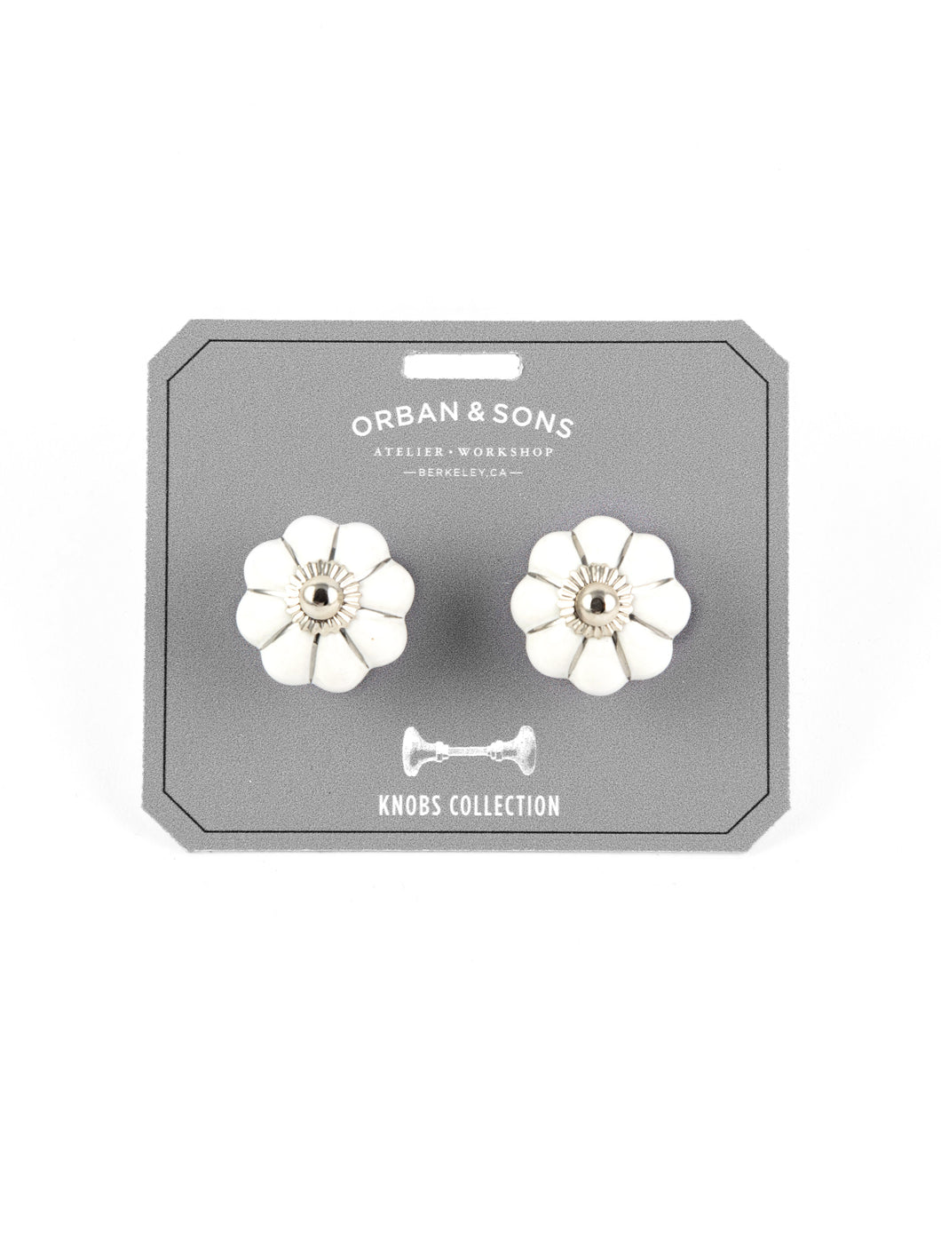 Orban & Sons White Flower Knobs (Set of 4)