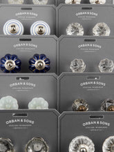 Load image into Gallery viewer, Orban & Sons White with Blue Stripes Knobs (Set of 4)