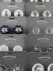 Orban & Sons White with Blue Stripes Knobs (Set of 4)