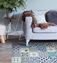 Load image into Gallery viewer, Beija Flor Blue Eclectic Floor Mat