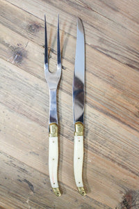 "Laguiole Carving Set in Pale ""Horn"" - Le Marché Pop Up"