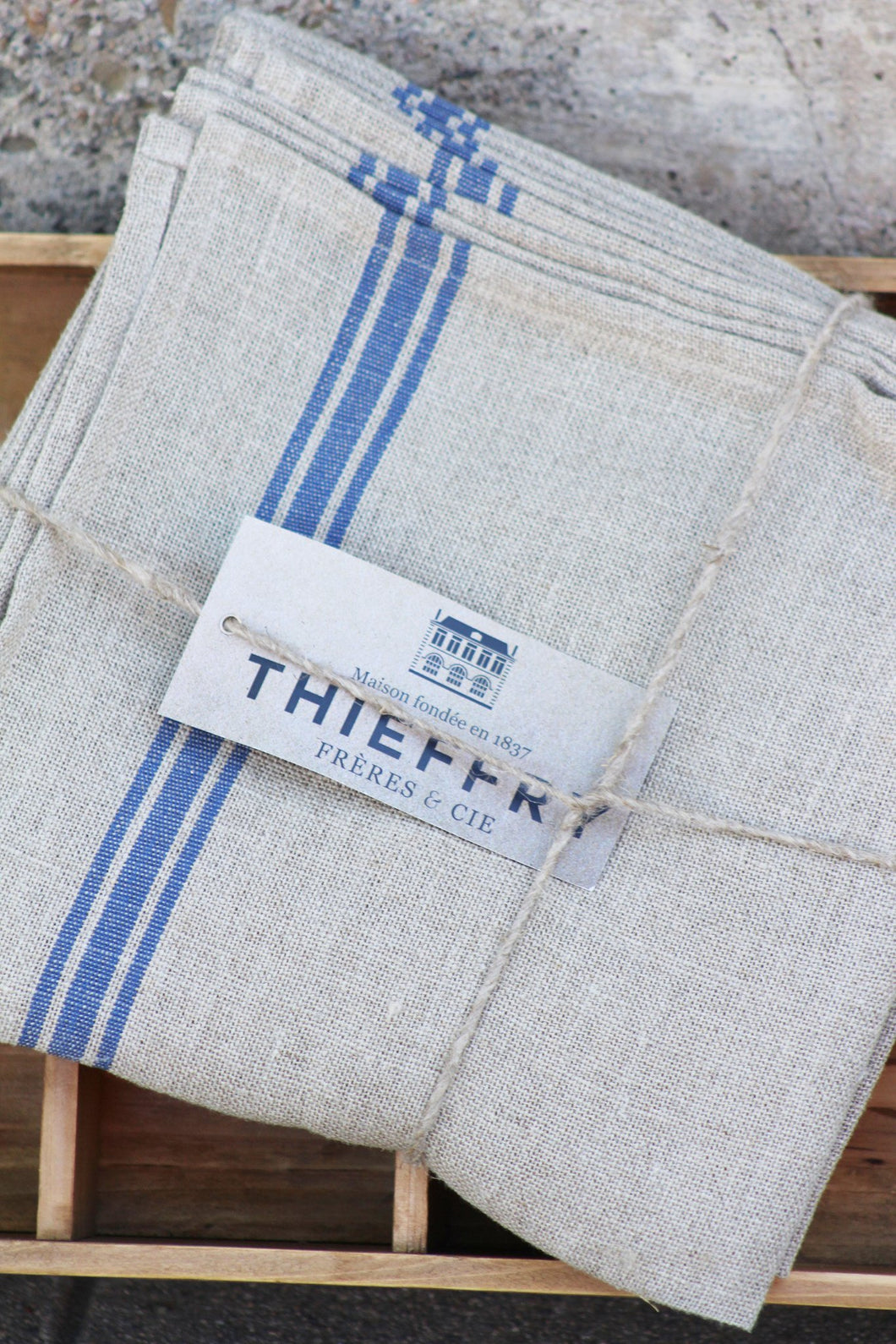 Thieffry Blue Monogramme Linen Tablecloth (68