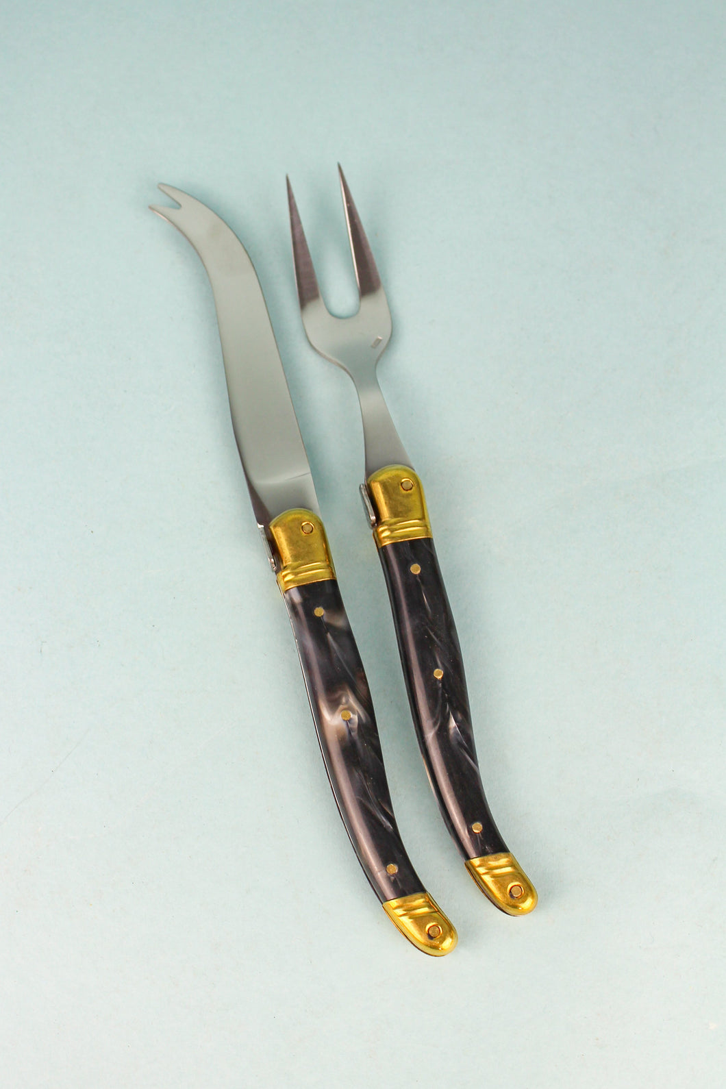 Vintage Laguiole Black Marble Fork Tipped Knife & Fork Set (Set of 2)