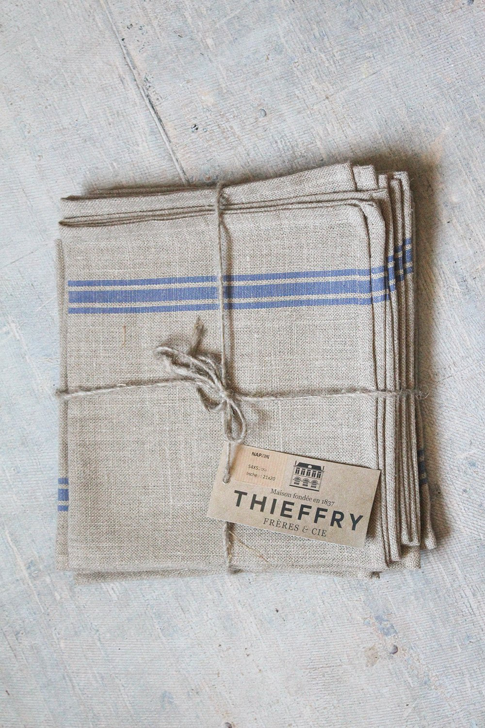 Thieffry Blue Monogramme Linen Dish Towel (28