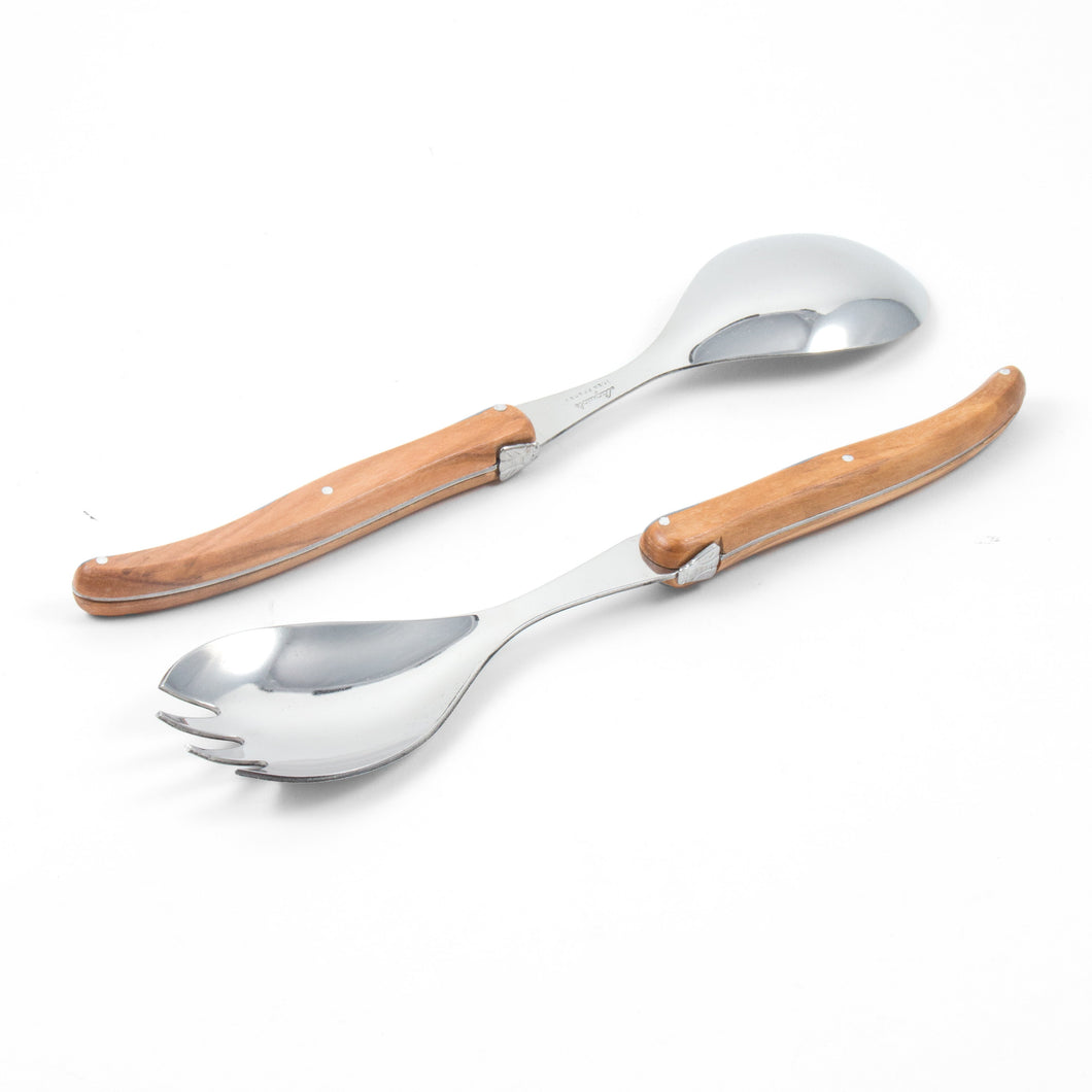 Laguiole French Olivewood Salad Server Set in Wood Box