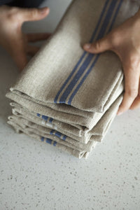 "Thieffry Blue Monogramme Linen Napkin (21"" x 20"") - Set of 2"