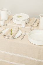 "Load image into Gallery viewer, Thieffry White Monogramme Linen Tablecloth (68"" x 110"")"