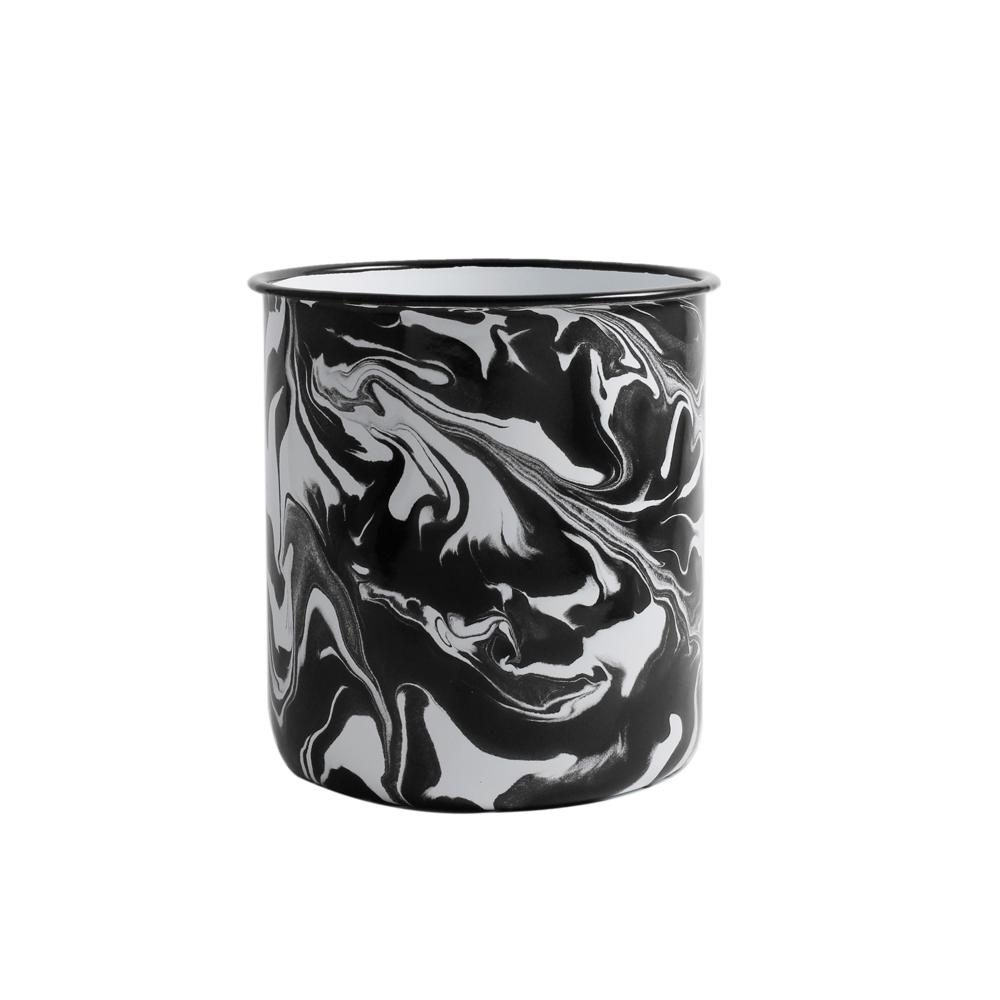 Orban & Sons Black & White Swirl Enamel Utensil Pot