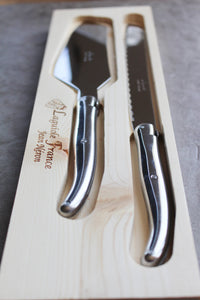 Laguiole Platine Cake & Bread Set All Stainless Wooden Box
