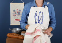 Load image into Gallery viewer, Tissage de L'Ouest Natural Cotton Apron with Blue Monogramme & Sardine